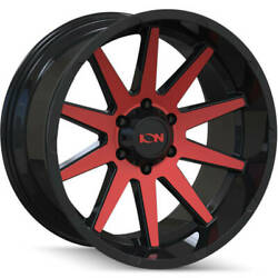4-20x10 Black Red Wheel Alloy Ion Style 143 8x180 -19