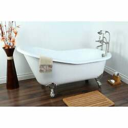 Vintage Slipper 61-inch Cast-iron Clawfoot Tub With 7-inch Silver