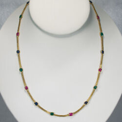 Ruby Emerald Sapphire Necklace 18k Mixed Gemstone By The Yard Station Chain