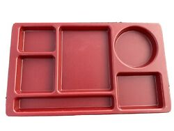 Lot Of 4 - Red Heavy Plastic Cambro 915cw Cafeteria Divided School Lunch Tray