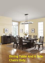 Dining Table W Lower Space Grey Hues Beautiful Padded Chairs W Side Cut Outs New