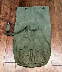Vintage Military Duffel Duffle Bag Rucksack Canvas Us Army Green Laundry Strap