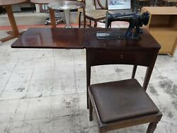 Vintage Singer Sewing Machine With Wooden Sewing Desk Stool And Accessories