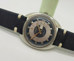 Rare Vintage Jaeger-lecoultre Club Twotone Blackandsilver Dial Auto Manand039s Watch