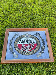 Vintage Imported Amstel Light Holland Bier Beer Mirrored Picture Sign Beeco