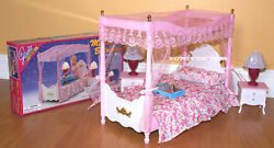 New Gloria Doll House Furniture Master Canopy Bedroom 2314 For Barbie