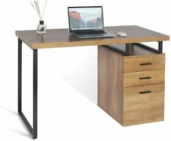 Home Office Computer Desk Laptop Pc Study Table With Storage And Drawer Wooden