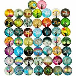 Glass Dome Cabochon, Tree Of Life Mosaic Tiles For Jewelry Making 1 In, 50 Pcs