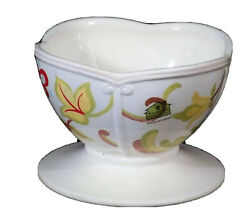 Waterford Great Room Chamomile Footed Dessert Bowl Red Flowers Scalloped 3h X 5w