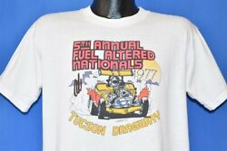 Vintage 70s Tucson Dragway 1977 5th Annual Fuel Altered Nationals Nhra T-shirt L