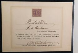 Woodrow Wilson Signed Three-cent Victory Stamp. Wwi.