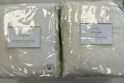 Pottery Barn Set 2 Emery Linen/cotton Curtains 100 X 84 White Blackout Lining