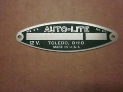 Auto-lite Cats Eye Shaped Green Metal Tag 12v Nos Circa 50and039s / 70and039s