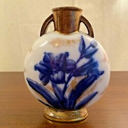 Vintage Adderly Flow Blue Lily Pillow Vase Hand-painted-gold Accents 7 England