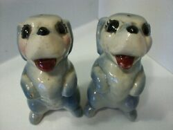 Vintage Rare American Pottery Dachshund Puppy Dog Animal Salt And Pepper Shakers