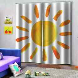 Cool Sun Made Of Yellow Biscuits Printing 3d Blockout Curtains Fabric Window