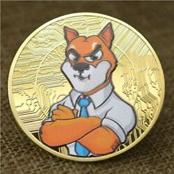 Shiba Inu Shib   Cryptocurrency Virtual Currency   Gold Plated Colorized Coin