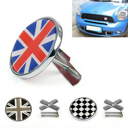 Metal Front Grill Badge W/ Holder Fit Mini Cooper R50 R55 R56 R57 R58 R60 S3