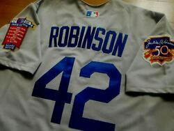 Los Angeles Dodgers Jackie Robinson Gray Throwback Sewn Jersey Xxl 52 2patch Nwt