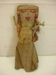 Antique Peruvian Textile Burial Rag Doll Chancay Mummy Cloth Fragment Indigenous