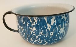 Lg. Antique Blue And White Swirl Granitware Chamber Pot