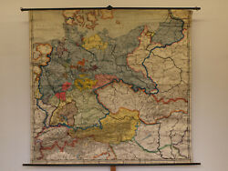 Wall Map German Rich 82 11/16x79 1/8in 1925 Vintage Empire Germany