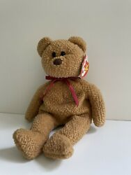 """Ty Beanie Babies """"curly"""" Bear 1996 Rare With Tag Errors 1993 Tush Tag. Pvc"""