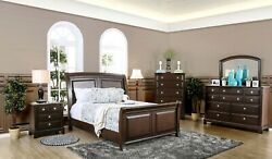 Stylish Brown Cherry 4pc Bedroom Eastern King Size Sleigh Bed Dresser Mirror Ns