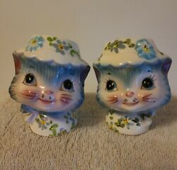 Vintage Lefton Miss Priss Kitty Cat Salt And Pepper Shakers Blue Anthro