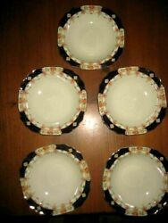 5 Vintage Myott And Son Art Deco Gilded Soup Bowls 7 3/4 Derby Pattern C 1930and039s