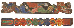 A Rare Korean Carved Dragons/clouds Buddhist Temple Architectural Panels-19th C.