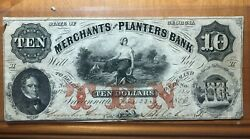 1866 10 Merchants And Planters Bank Augusta Georgia Obsolete Currency