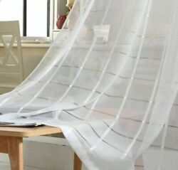 Tulle Curtains Plaid Modern Sheer Voile Modern Window Screens Blinds Decorations