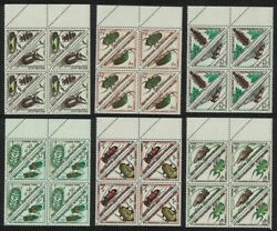 Central African Rep. Beetles Insects 12v Tete-beche Postage Due Blocks Of 4