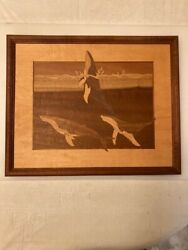 Hudson River Inlay Wood Marquetry Nelson. Whales 16 X 13