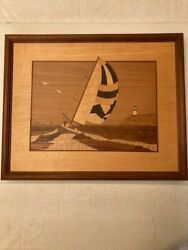 Hudson River Inlay Wood Marquetry. Nelson. Sailboat And Lighthouse. 16x13