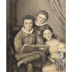 Drawing Portrait Of Three Children Heightened With White Chalk