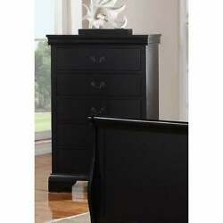 Smartly Groomed Pine Wood Plywood And Birch Veneer Chest Black Modern And Contempo