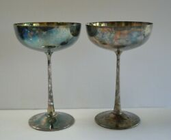 2 Vintage De Uberti Italy Silverplated Champagne Coupes Two Wine Glasses Goblets