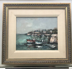 Listed French Artist Claude Farcy Oil Painting Harbor Scene Boats Town Framed