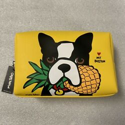 Marc Tetro Boston Terrier w Pineapple Large Yellow Cosmetic Pouch