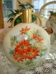 Antique Limoges Haviland Hand Painted Vase, Red Poinsettia Flowers, 10