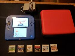 Nintendo 2ds Electric Blue Mario Kart 7 Pre Installed Console W/ Lots Of Extras