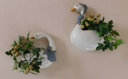Vintage Homco Burwood Country Goose Geese Wall Pocket Planters Farm House Flower