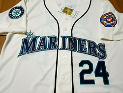 Brand New Ivory Seattle Mariners 24 Ken Griffey Jr.throwback 2patch Sewn Jersey