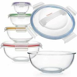 Glass Mixing Bowls - Nesting Bowls - Space-saving Glass Mixing Bowls With Lids