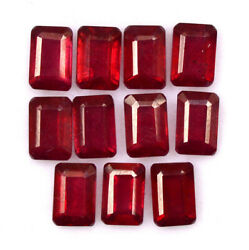 Natural Red Ruby 5x3 Mm Octagon Cut Faceted Loose Gtl Certified Gemstone Lot Gf