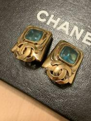 Auth Vintage Cc Logo Green Stones Gold Clip-on Earrings Used From Japan