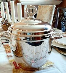 Vintage Ice Bucket Silver Plate - Lined Original Tongs - Near Mint - Made Usa