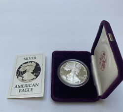 1986-s Silver American Eagle Proof One Dollar Coin U.s. Mint W/ Box And Coa